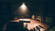 FO76SD Orwell Orchards bomb shelter lounge TV area