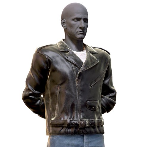 Leather greaser jacket and jeans
