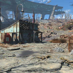 FO4 Rotten Landfill shack and south entrance.png