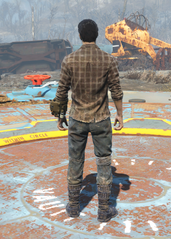 Flannel Shirt and Jeans, Back View (Male)