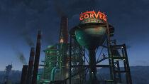 FO4 Corvega assembly plant at night