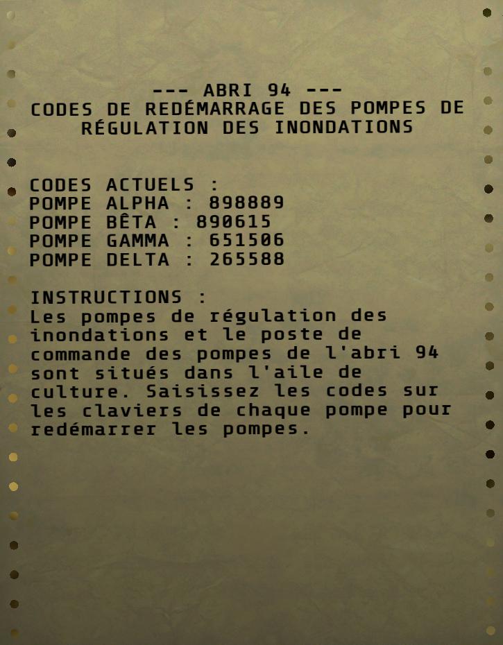 Codes de redémarrage des pompes de l'Abri 94