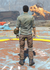 Green Shirt and Combat Boots, Back View (Male)