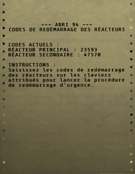 FO76 Codes de redémarrage des réacteurs de l'Abri 94.png