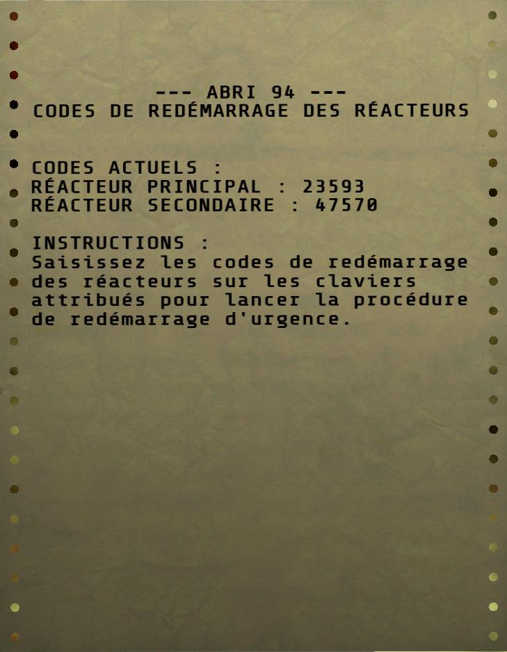 Codes de redémarrage des réacteurs de l'Abri 94