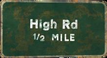 FNVLR High Road sign