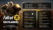 FO76 Wastelanders calendrier de la communauté maj