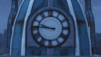 FO76 Vault-Tec University Clock Night