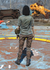 Green Shirt and Combat Boots, Back View (Female)