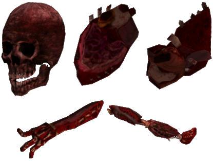 Повреждённые части тела