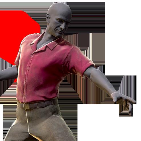 Red and khaki shirt and slacks