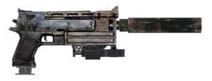 10mm pistol with laser sight, extended mag and silencer.png