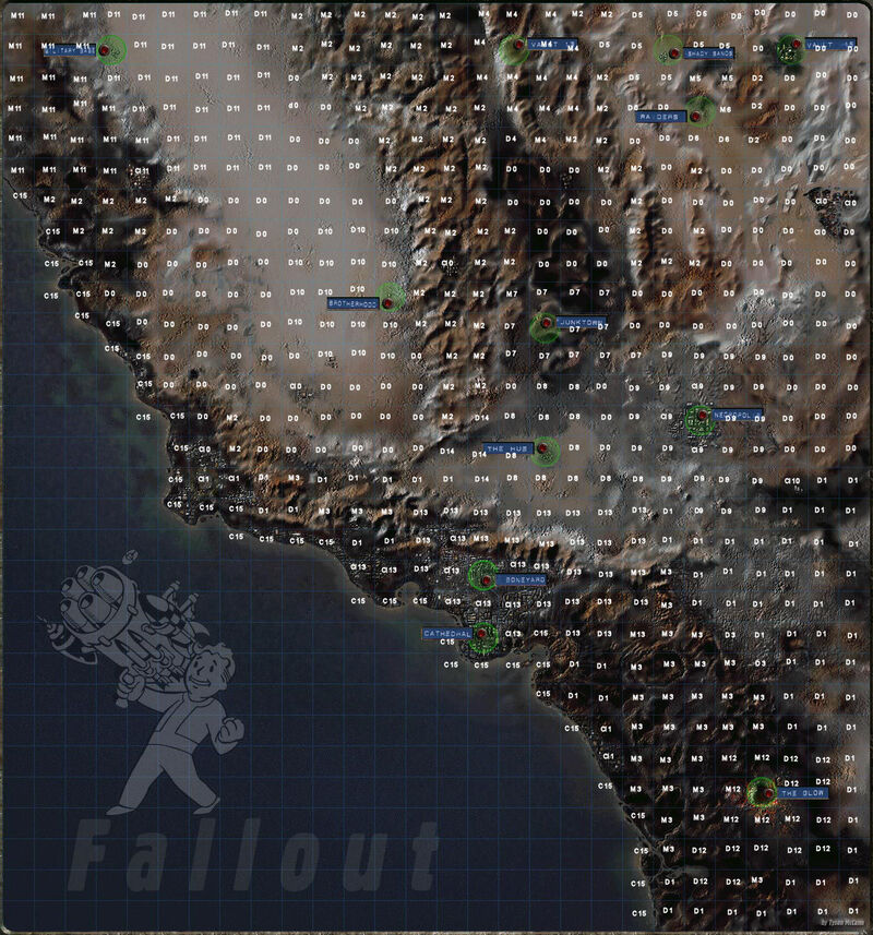 Map overlaid with the names of the encounter tables used to determine random encounters