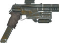 A highly modified 10mm combat pistol