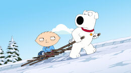 Brian Carries Stewie Up the Mount.jpg