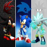 Sonic,silver y shadow