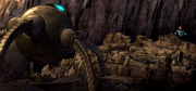 Incredible seeing robot about to throw another boulder at him.png
