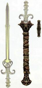 Hyrule Historia Concept Artwork of the Sword of the Six Sages and its scabbard from Legend of Zelda Twilight Princess