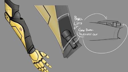 Concept Art Yang Metal Arm Gun for RWBY