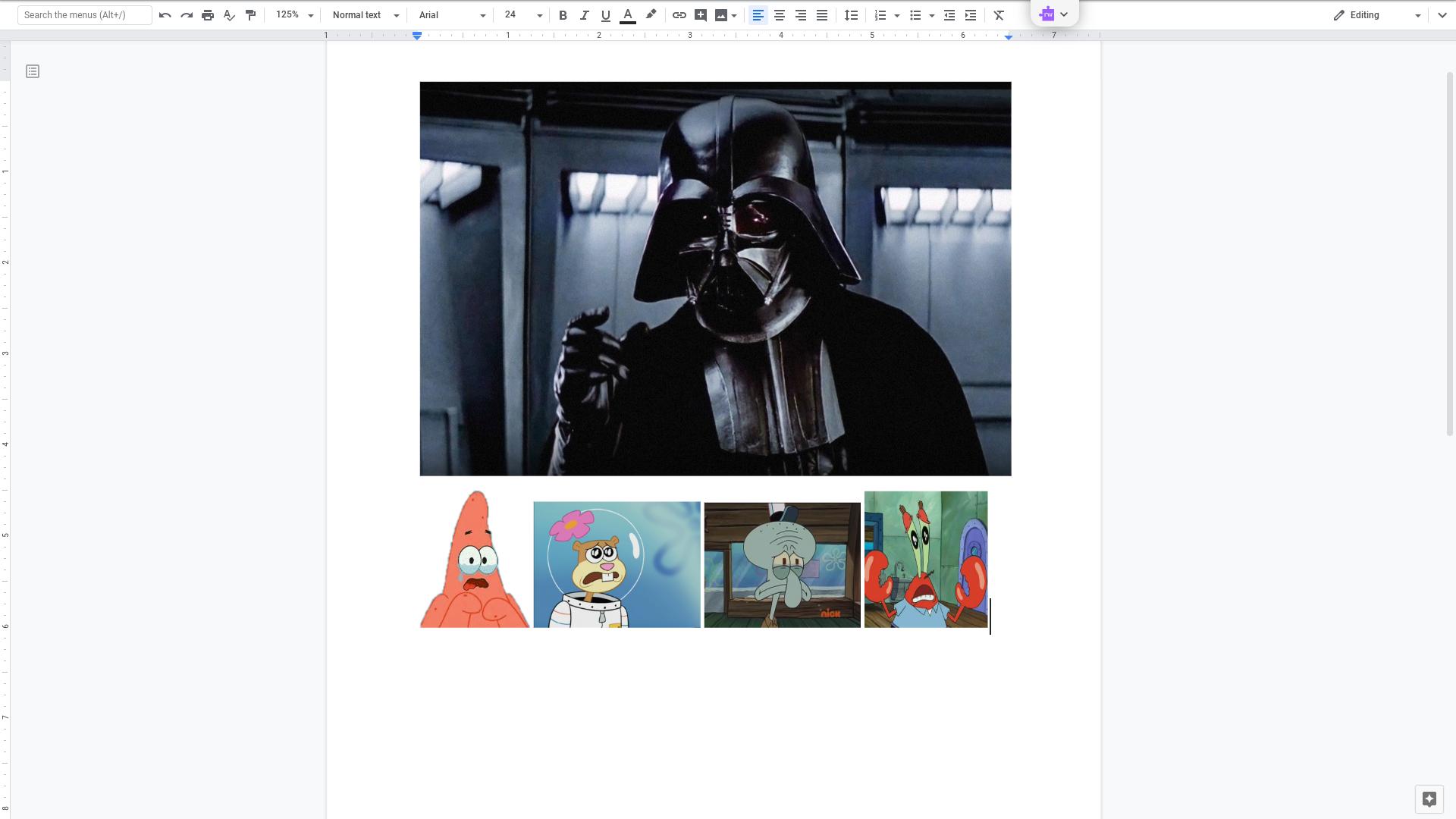 Darth Vader Angry at Patrick, Squidward Sandy and Mr. Krabs