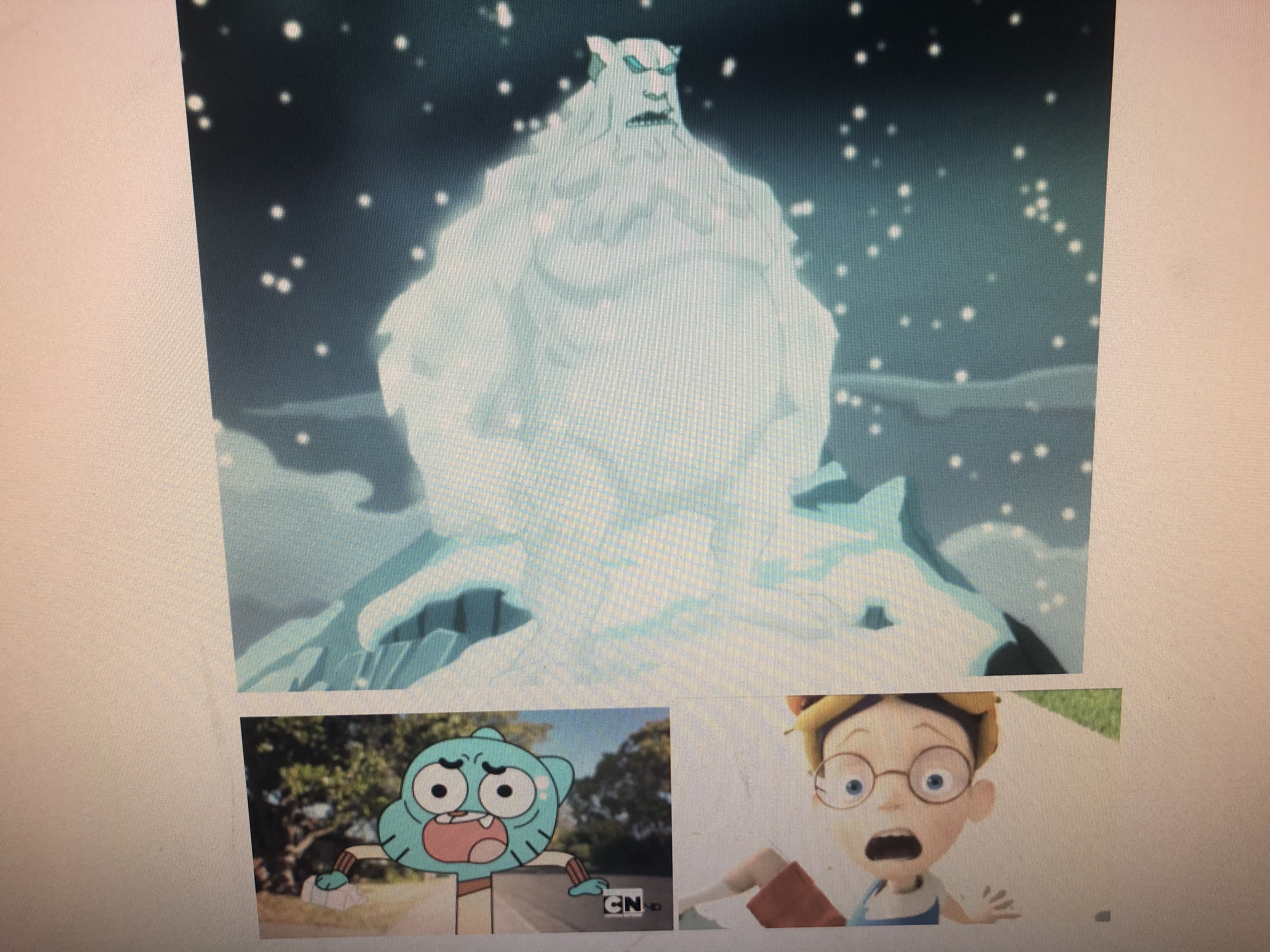 Lewis Robinson and Gumball Watterson Scared of The Ice Beast