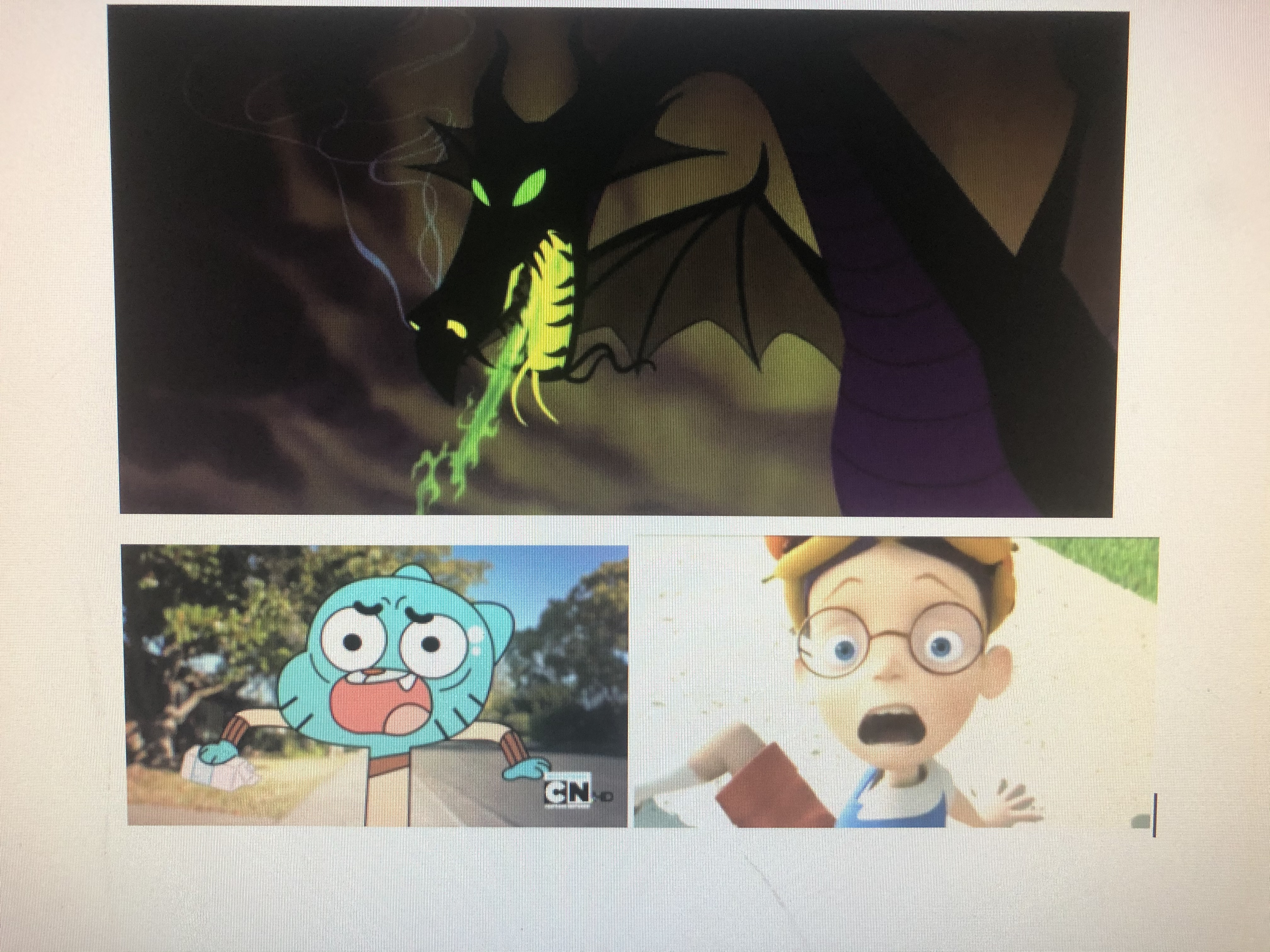 Lewis Robinson and Gumball Watterson Scared of Dragon Maleficent