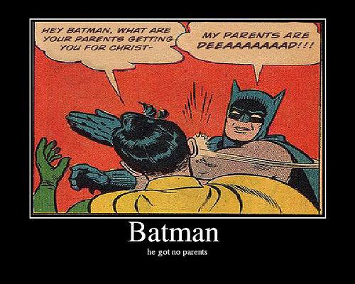 Batman slaps Robin at Christmastime
