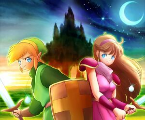 Link and Princess Zelda 2 from Mirage Castle's Battle
