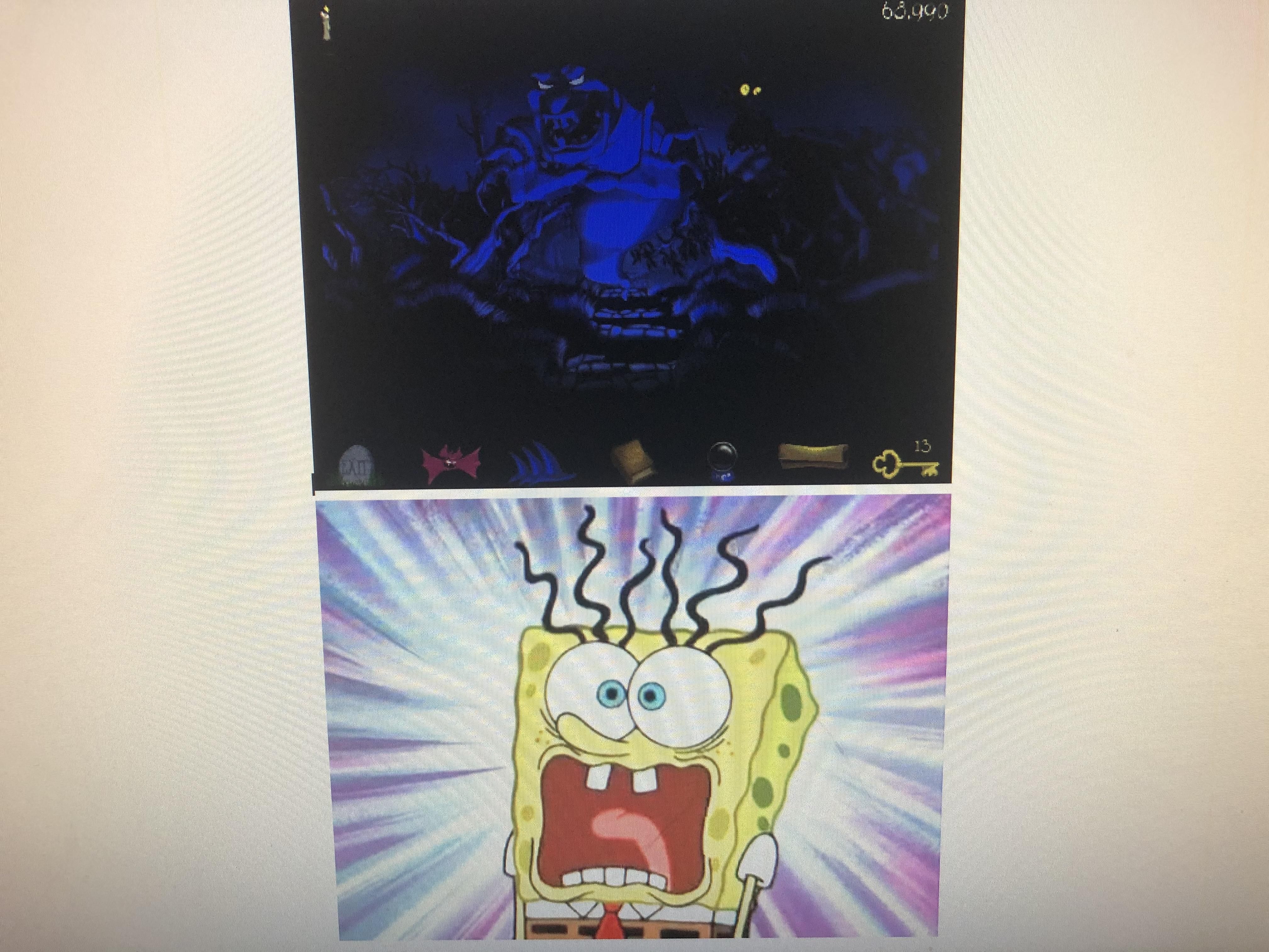 Spongebob Squarepants Scared of Repsac