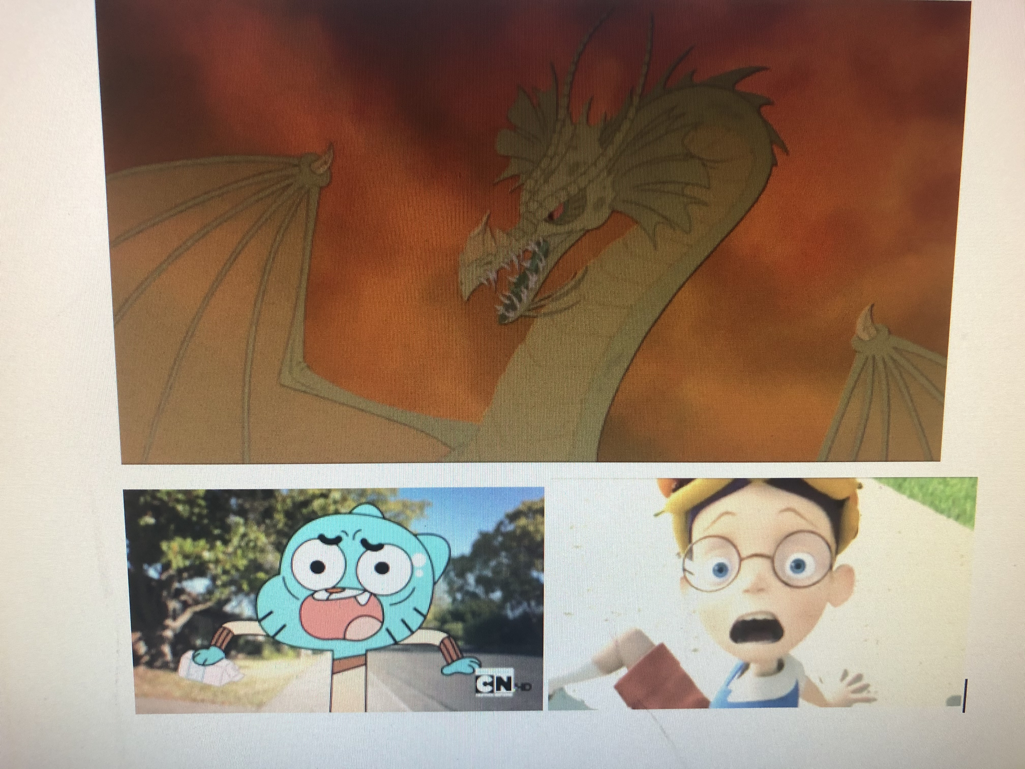 Lewis Robinson and Gumball Watterson Scared of The Dragon (The Pagemaster)