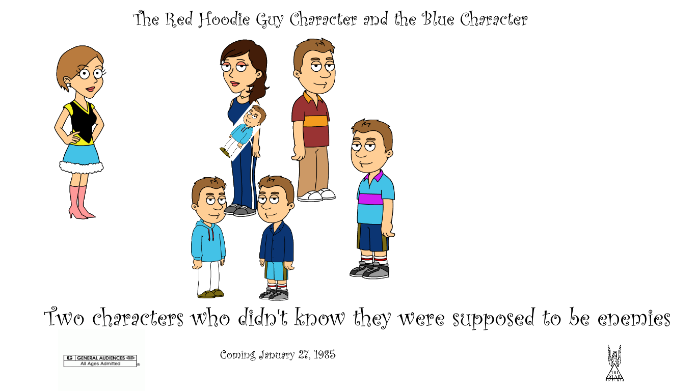 The Red Hoodie Guy Character and the Blue Character