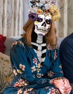 Mandy moore wearing a day of the dead sugar skull makeup