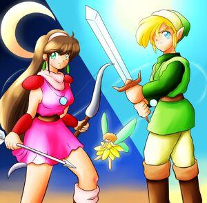 Link and Princess Zelda from Mirage Castle's Battle