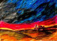 Pejzaż Desertii późnym wieczorem