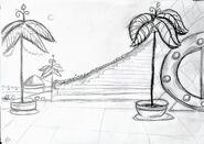 Desertia szkic schodów do pałacu w ogrodzie