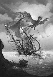 Vyobrazení draka Temeraira z knižní série Temeraire při boji s krakenem