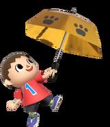 0.13.Red Villager holding up an Umbrella