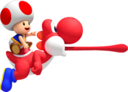 Red Toad on Red Yoshi