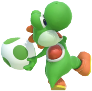 1.3.Green Yoshi preparing to throw an Egg