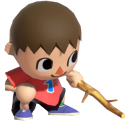 0.15.Red Villager poking the ground with a Stick