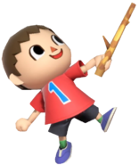0.14.Red Villager holding up a Stick
