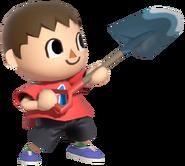 0.7.Red Villager holding up his Shovel