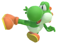 1.2.Green Yoshi's flying kick