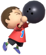 0.1.Red Villager holding a Bowling Ball