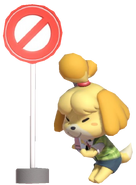 0.3.Isabelle Blowing a Whistle next to sign