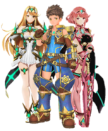 Rex, Pyra and Mythra in Smash Ultimate Style