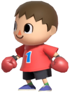 0.8.Red Villager with Boxing Gloves