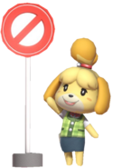 0.4.Isabelle waving next to sign