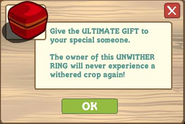 Unwither Ring Pop Up Message