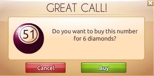 Buying Bingo balls with Diamonds